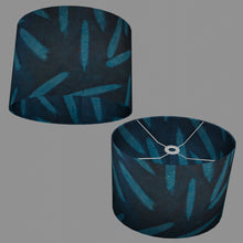 Oval Lamp Shade - P99 - Resistance Dyed Teal Bamboo, 40cm(w) x 30cm(h) x 30cm(d)