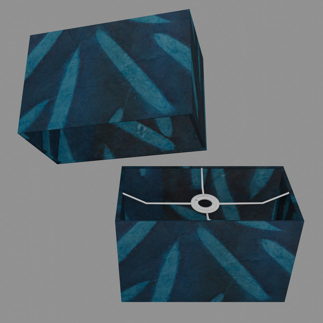 Rectangle Lamp Shade - P99 - Resistance Dyed Teal Bamboo, 30cm(w) x 20cm(h) x 15cm(d)