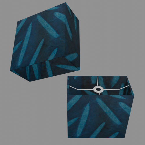 Rectangle Lamp Shade - P99 - Resistance Dyed Teal Bamboo, 30cm(w) x 30cm(h) x 15cm(d)