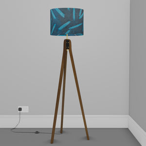 Sapele Tripod Floor Lamp - P99 - Resistance Dyed Teal Bamboo