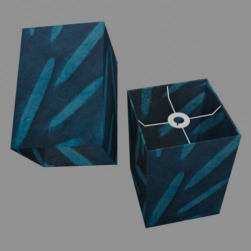 Square Lamp Shade - P99 - Resistance Dyed Teal Bamboo, 20cm(w) x 30cm(h) x 20cm(d)