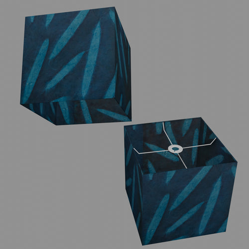Square Lamp Shade - P99 - Resistance Dyed Teal Bamboo, 30cm(w) x 30cm(h) x 30cm(d)