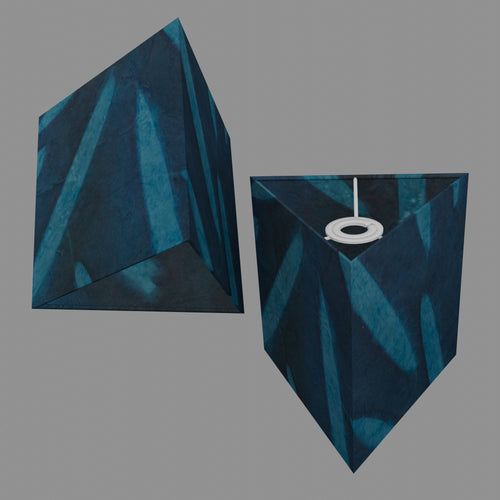 Triangle Lamp Shade - P99 - Resistance Dyed Teal Bamboo, 20cm(w) x 20cm(h)