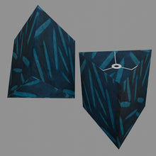 Triangle Lamp Shade - P99 - Resistance Dyed Teal Bamboo, 40cm(w) x 40cm(h)