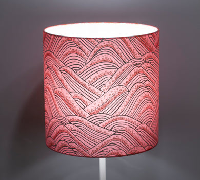 Drum Lamp Shade - W04 - Pink Hills with Gold Flowers, 25cm x 25cm