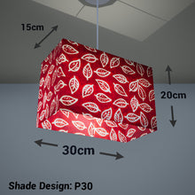Rectangle Lamp Shade - P30 - Batik Leaf on Red, 30cm(w) x 20cm(h) x 15cm(d) - Imbue Lighting