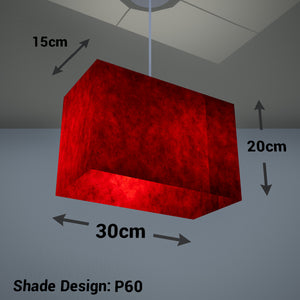 Rectangle Lamp Shade - P60 - Red Lokta, 30cm(w) x 20cm(h) x 15cm(d)