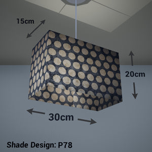 Rectangle Lamp Shade - P78 - Batik Dots on Grey, 30cm(w) x 20cm(h) x 15cm(d) - Imbue Lighting
