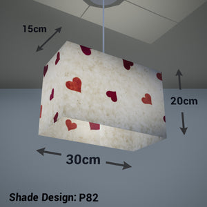 Rectangle Lamp Shade - P82 ~ Hearts on Lokta Paper, 30cm(w) x 20cm(h) x 15cm(d) - Imbue Lighting