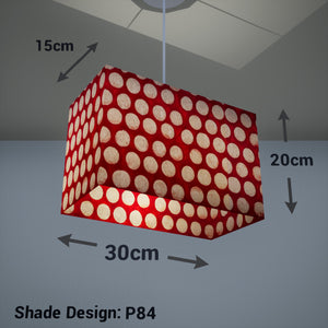 Rectangle Lamp Shade - P84 ~ Batik Dots on Red, 30cm(w) x 20cm(h) x 15cm(d)