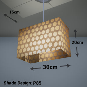 Rectangle Lamp Shade - P85 ~ Batik Dots on Natural, 30cm(w) x 20cm(h) x 15cm(d)