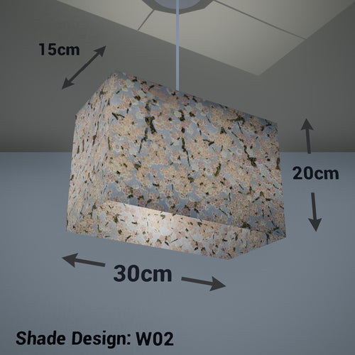 Rectangle Lamp Shade - W02 ~ Pink Cherry Blossom on Grey, 30cm(w) x 20cm(h) x 15cm(d) - Imbue Lighting