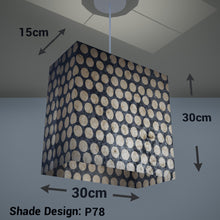 Rectangle Lamp Shade - P78 - Batik Dots on Grey, 30cm(w) x 30cm(h) x 15cm(d) - Imbue Lighting