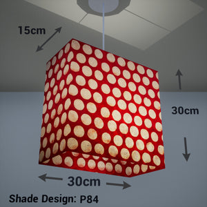 Rectangle Lamp Shade - P84 ~ Batik Dots on Red, 30cm(w) x 30cm(h) x 15cm(d)