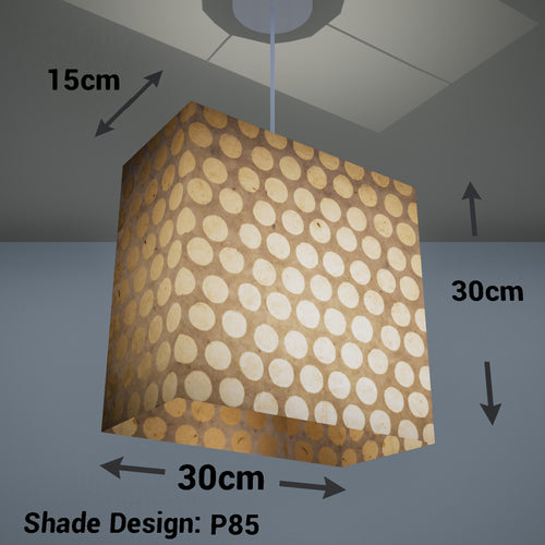 Rectangle Lamp Shade - P85 ~ Batik Dots on Natural, 30cm(w) x 30cm(h) x 15cm(d)