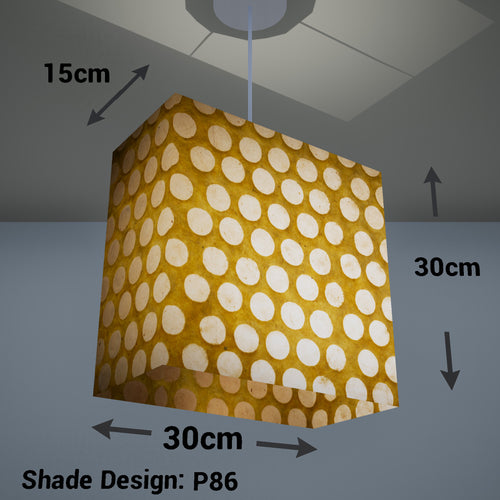 Rectangle Lamp Shade - P86 ~ Batik Dots on Yellow, 30cm(w) x 30cm(h) x 15cm(d)