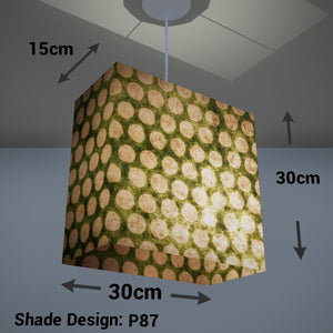 Rectangle Lamp Shade - P87 ~ Batik Dots on Green, 30cm(w) x 30cm(h) x 15cm(d)