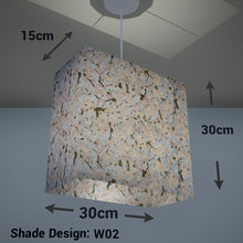 Rectangle Lamp Shade - W02 ~ Pink Cherry Blossom on Grey, 30cm(w) x 30cm(h) x 15cm(d) - Imbue Lighting