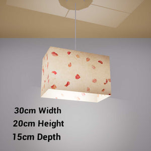 Rectangle Lamp Shade - P33 - Rose Petals on Natural Lokta, 30cm(w) x 20cm(h) x 15cm(d) - Imbue Lighting