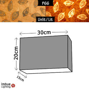 Rectangle Lamp Shade - P66 - Batik Leaf on Camel, 30cm(w) x 20cm(h) x 15cm(d) - Imbue Lighting