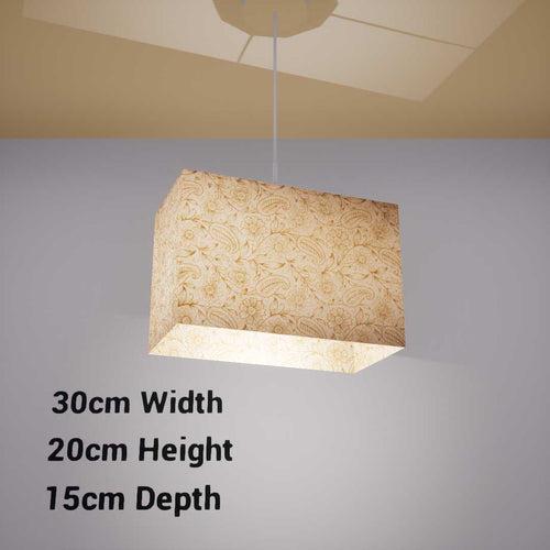 Rectangle Lamp Shade - P69 - Garden Gold on Natural, 30cm(w) x 20cm(h) x 15cm(d) - Imbue Lighting