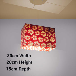 Rectangle Lamp Shade - P76 - Batik Star Flower Red, 30cm(w) x 20cm(h) x 15cm(d) - Imbue Lighting