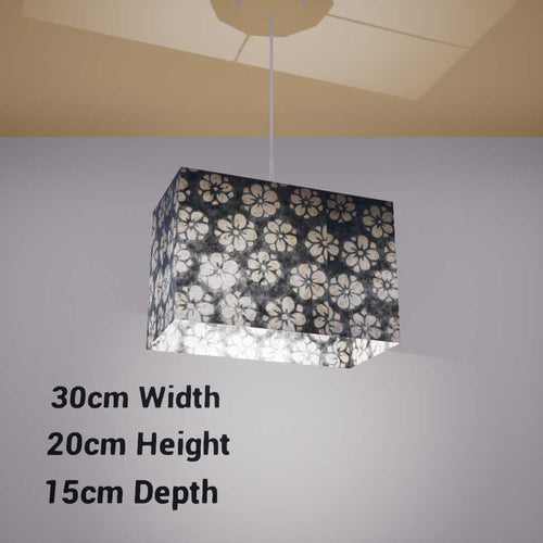 Rectangle Lamp Shade - P77 - Batik Star Flower Grey, 30cm(w) x 20cm(h) x 15cm(d) - Imbue Lighting