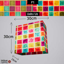Rectangle Lamp Shade - P01 - Batik Multi Square, 30cm(w) x 30cm(h) x 15cm(d) - Imbue Lighting