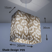 Rectangle Lamp Shade - P09 - Batik Peony on Natural, 30cm(w) x 30cm(h) x 15cm(d) - Imbue Lighting
