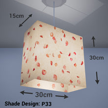 Rectangle Lamp Shade - P33 - Rose Petals on Natural Lokta, 30cm(w) x 30cm(h) x 15cm(d) - Imbue Lighting