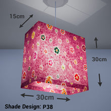 Rectangle Lamp Shade - P38 - Batik Multi Flower on Purple, 30cm(w) x 30cm(h) x 15cm(d) - Imbue Lighting