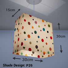 Rectangle Lamp Shade - P39 - Polka Dots on Natural Lokta, 30cm(w) x 30cm(h) x 15cm(d) - Imbue Lighting