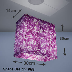 Rectangle Lamp Shade - P68 - Batik Leaf on Purple, 30cm(w) x 30cm(h) x 15cm(d) - Imbue Lighting