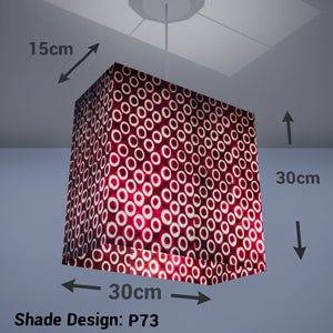 Rectangle Lamp Shade - P73 - Batik Red Circles, 30cm(w) x 30cm(h) x 15cm(d) - Imbue Lighting