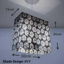 Rectangle Lamp Shade - P77 - Batik Star Flower Grey, 30cm(w) x 30cm(h) x 15cm(d) - Imbue Lighting