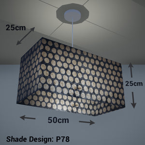 Rectangle Lamp Shade - P78 - Batik Dots on Grey, 50cm(w) x 25cm(h) x 25cm(d) - Imbue Lighting