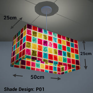 Rectangle Lamp Shade - P01 - Batik Multi Square, 50cm(w) x 25cm(h) x 25cm(d) - Imbue Lighting