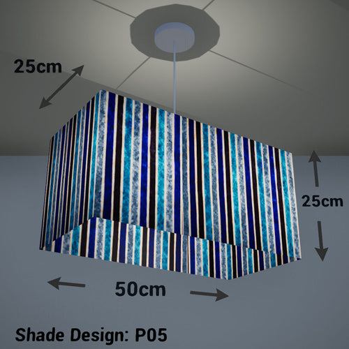 Rectangle Lamp Shade - P05 - Batik Stripes Blue, 50cm(w) x 25cm(h) x 25cm(d) - Imbue Lighting