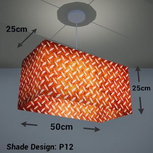 Rectangle Lamp Shade - P12 - Batik Tread Plate Brown, 50cm(w) x 25cm(h) x 25cm(d) - Imbue Lighting