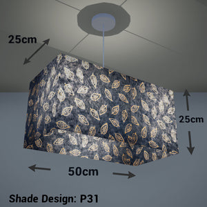 Rectangle Lamp Shade - P31 - Batik Leaf on Blue, 50cm(w) x 25cm(h) x 25cm(d) - Imbue Lighting