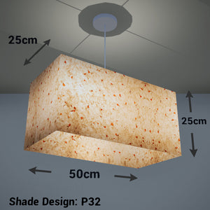 Rectangle Lamp Shade - P32 - Marigold Petals on Natural Lokta, 50cm(w) x 25cm(h) x 25cm(d) - Imbue Lighting