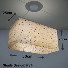 Rectangle Lamp Shade - P34 - Cornflower Petals on Natural Lokta, 50cm(w) x 25cm(h) x 25cm(d) - Imbue Lighting