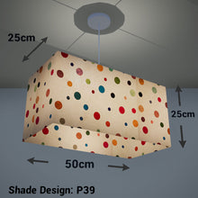 Rectangle Lamp Shade - P39 - Polka Dots on Natural Lokta, 50cm(w) x 25cm(h) x 25cm(d) - Imbue Lighting