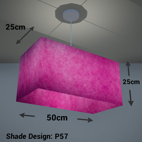 Rectangle Lamp Shade - P57 - Hot Pink Lokta, 50cm(w) x 25cm(h) x 25cm(d)