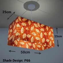 Rectangle Lamp Shade - P66 - Batik Leaf on Camel, 50cm(w) x 25cm(h) x 25cm(d) - Imbue Lighting