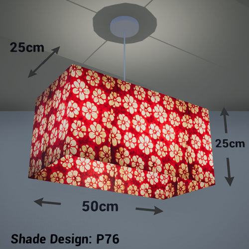 Rectangle Lamp Shade - P76 - Batik Star Flower Red, 50cm(w) x 25cm(h) x 25cm(d) - Imbue Lighting
