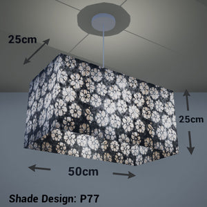 Rectangle Lamp Shade - P77 - Batik Star Flower Grey, 50cm(w) x 25cm(h) x 25cm(d) - Imbue Lighting