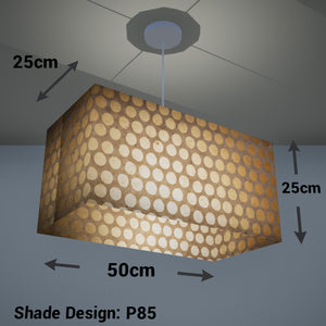 Rectangle Lamp Shade - P85 ~ Batik Dots on Natural, 50cm(w) x 25cm(h) x 25cm(d)