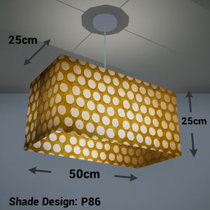 Rectangle Lamp Shade - P86 ~ Batik Dots on Yellow, 50cm(w) x 25cm(h) x 25cm(d)