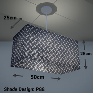 Rectangle Lamp Shade - P88 ~ Batik Tread Plate Grey, 50cm(w) x 25cm(h) x 25cm(d)